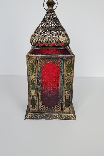 Metal Moroccan Lantern with glass colored sides