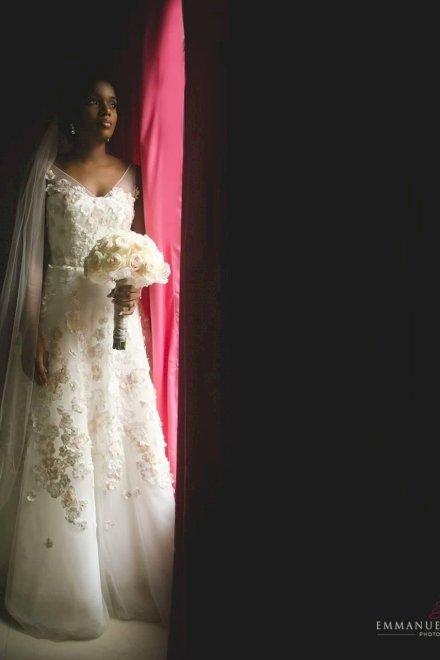 Augusta Jones Vicki Wedding Dress with Blush Floral Appliqué & Veil