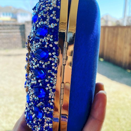 Blue Crystal Floral Clutch