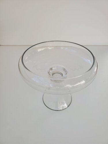 Clear Footed Glass Bowl Vase 10 inches