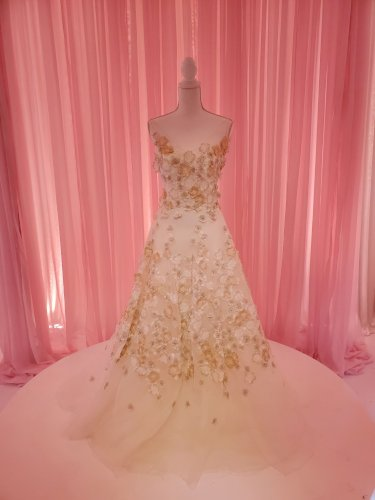 Augusta Jones Vicki Wedding Dress with Blush Floral Appliqué & Veil