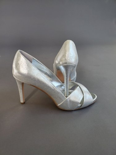 Women's Loralie Open Toe Platform Pumps 10M Silver