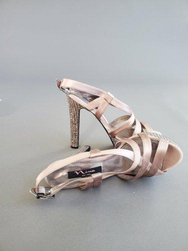 Nina Pallie Latte Crystal Platform Sandals Size 9.5