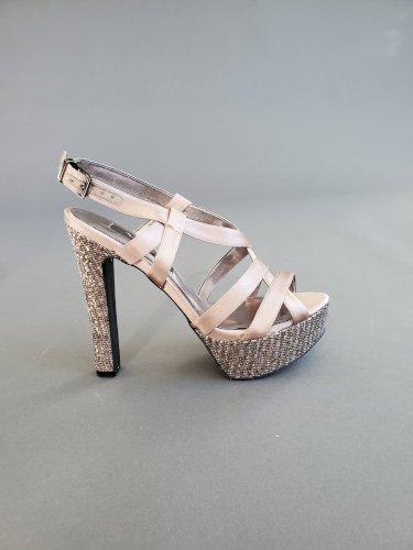Nina Women's Latte Crystal Platform Sandals Size 7.5
