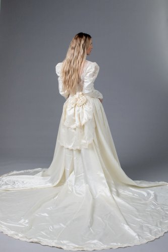 Vintage Lace and Satin Wedding Dress